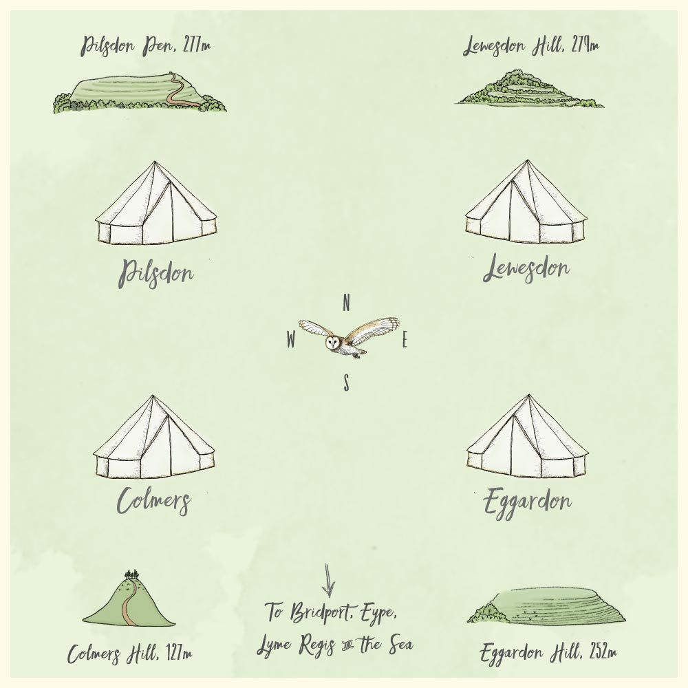 Which tent is which - Old Bidlake Farm Bell Tent Camping Bridport Dorset