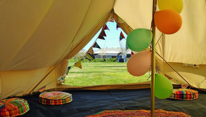 Old Bidlake Farm Bell Tent Camping in Dorset Exclusive Hire for Large Parties