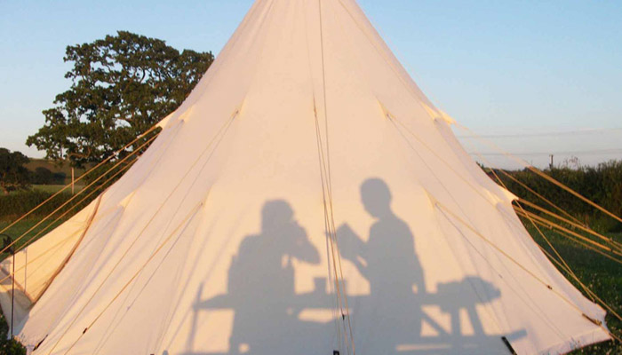 Silhouette of Campers - Old Bidlake Farm Camping Bridport